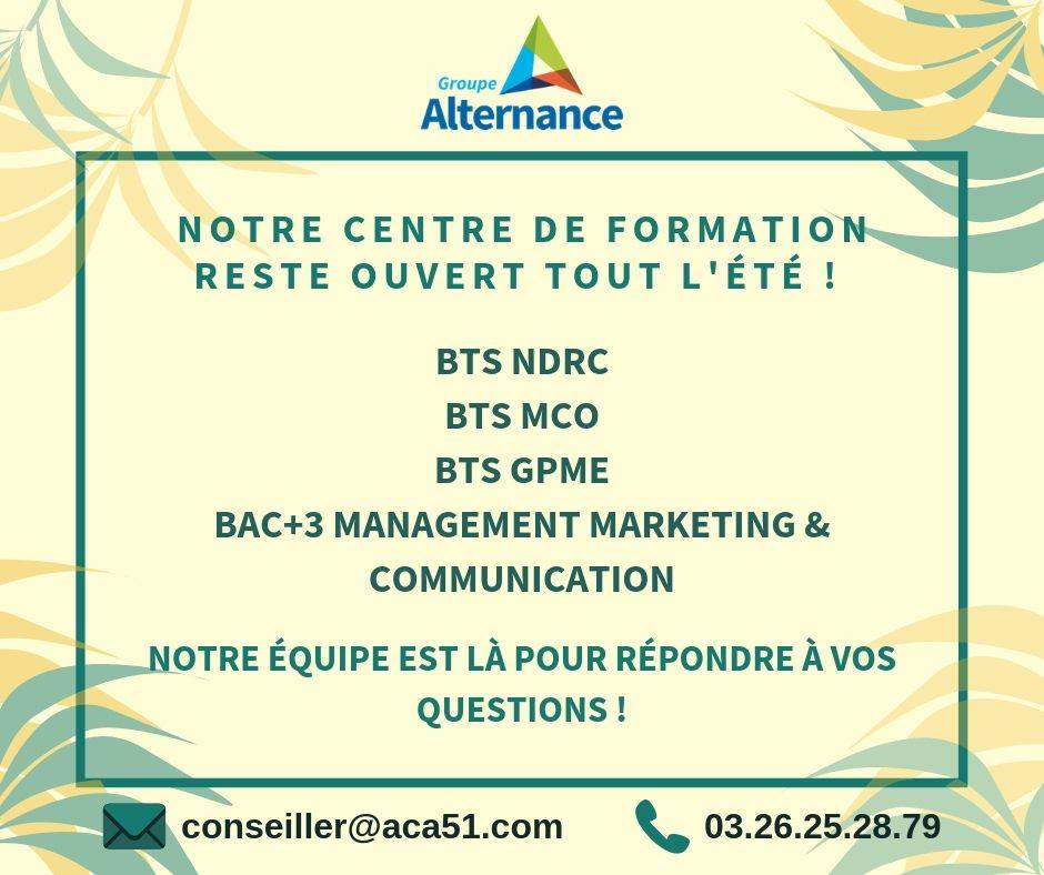 Alternance Champagne Ardenne Reims Troyes inscriptions BTS 2019-2020 NDRC GPME MCO Bachelor